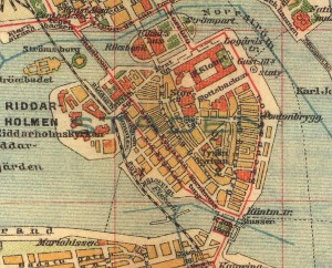 Stockholm Gamla Stan map from 1910