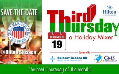 SAVE-THE-DATE Holiday 3T, Dec. 19 @ Hilton Slussen