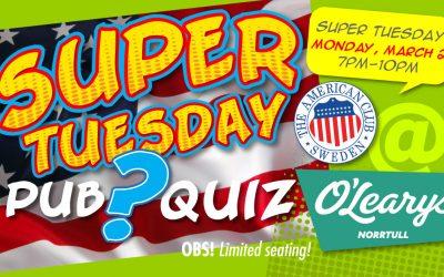 Super Tuesday Pub Quiz, March 2