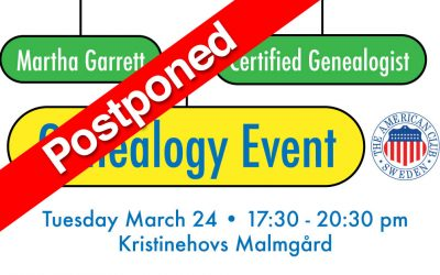 Genealogy Event, POSTPONED