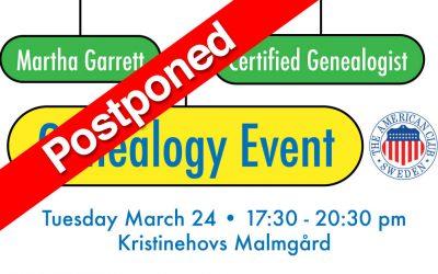 Genealogy Event, POSTPONED