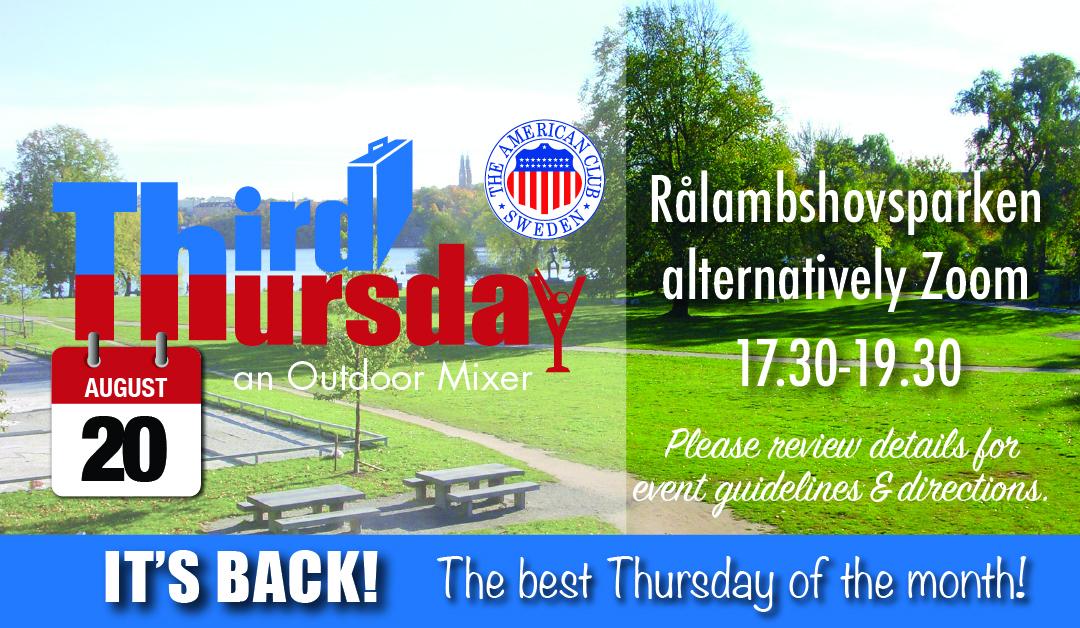 Third Thursday Mixer, Aug. 20th @ Rålambshovsparken alternatively Zoom
